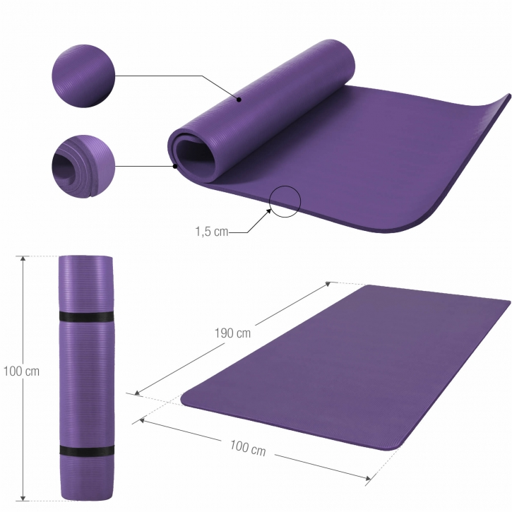 Deluxe NBR Yoga Mat XL Purple 190x100x1.5cm-100524-00040-0134